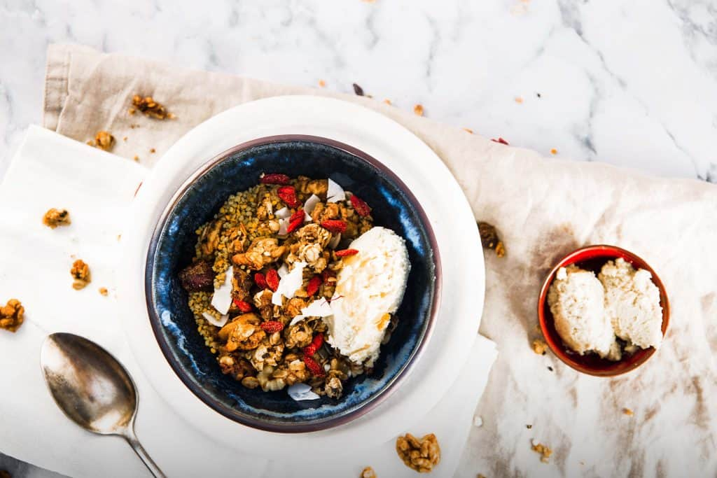 photograph of best chai addict granola with goji berries and mascarpone