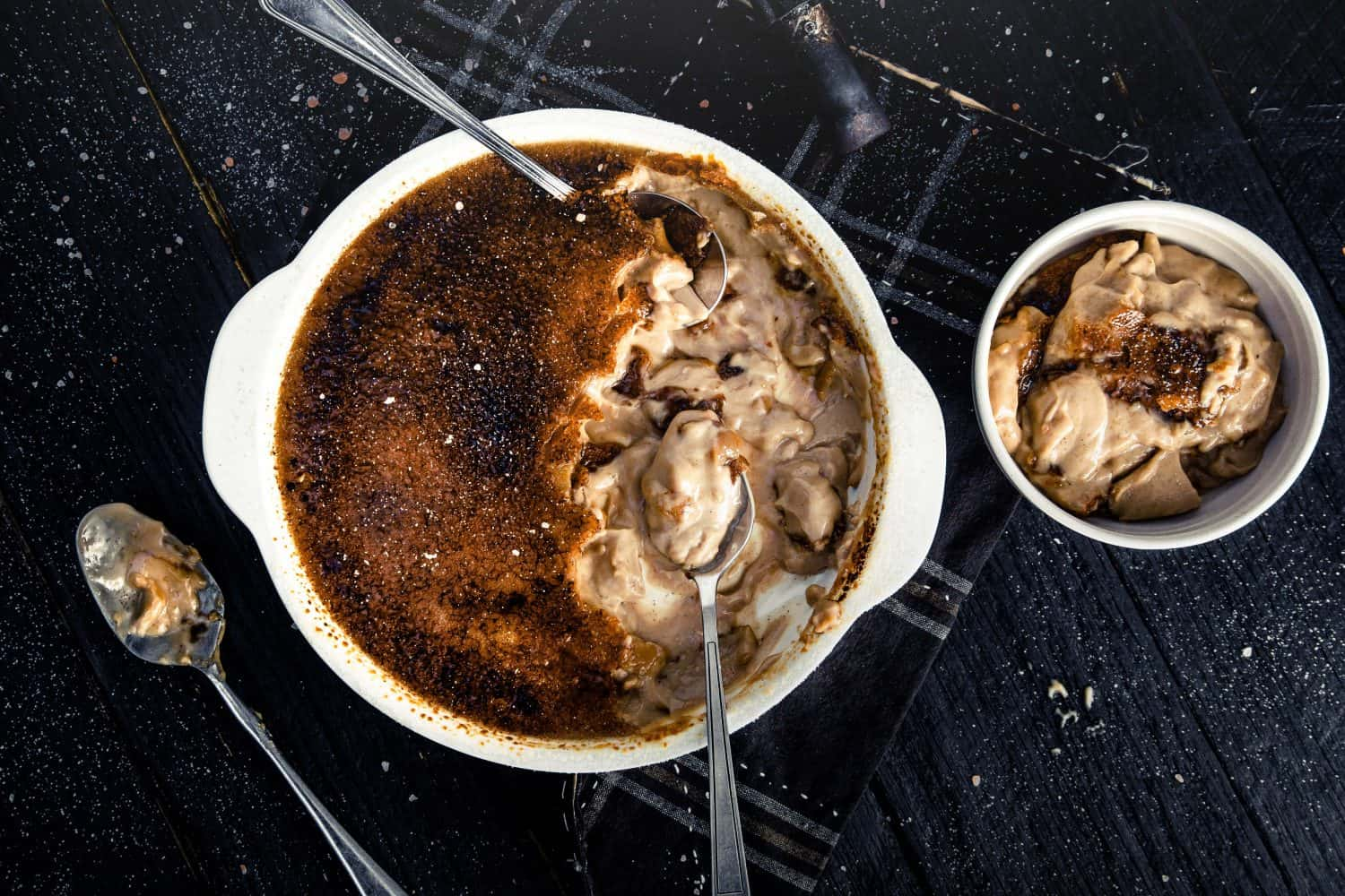 photograph of a half eaten chai creme brulee