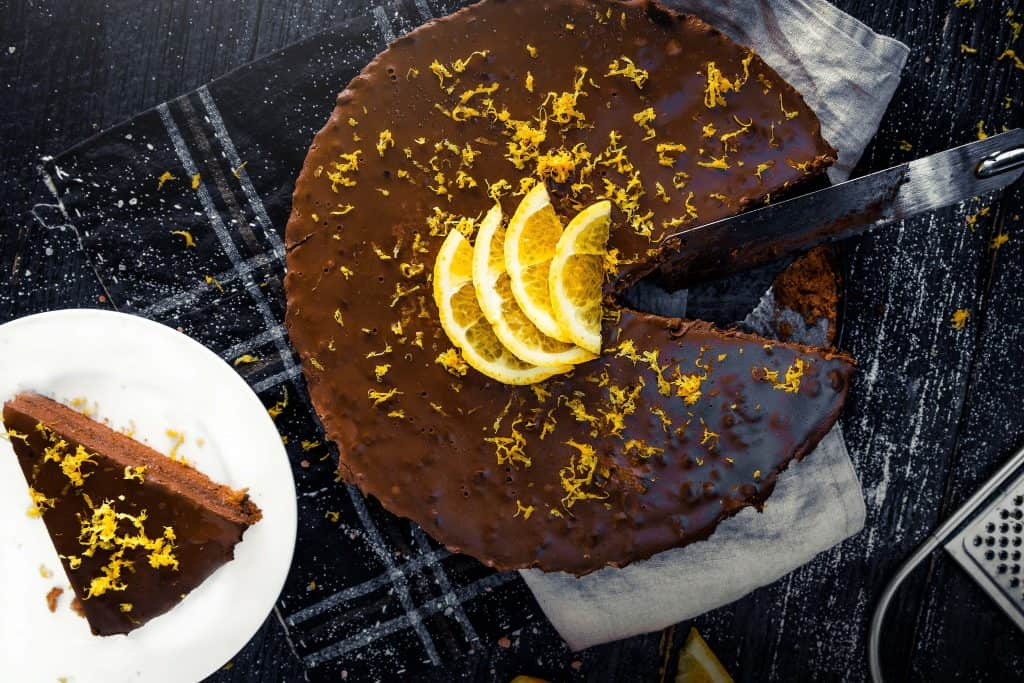 photograph of a chai cake called choco-chai orange fantasy cake