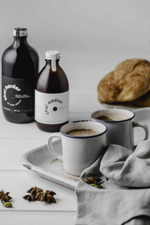chai addict creamy chai latte with croissants