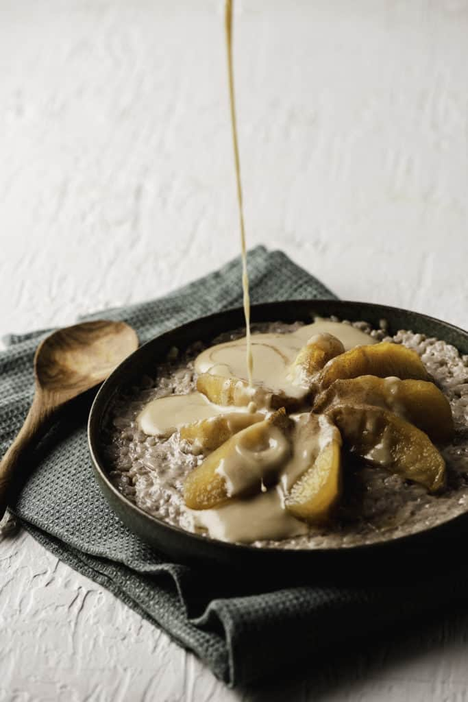 chai rice pudding with stewed apples