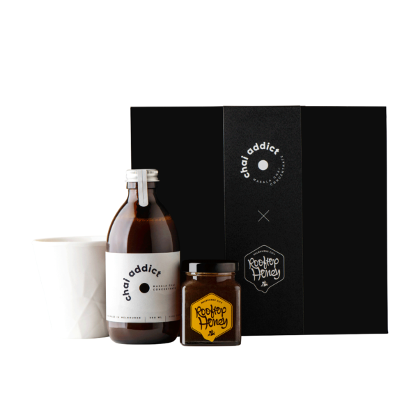 gift box, bottle of chai addict, rooftop honey, hayden youlley cup