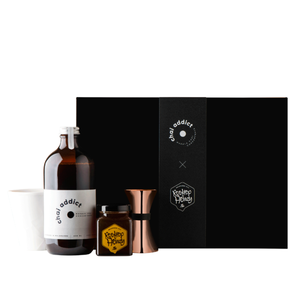 gift box, bottle of chai addict, rooftop honey, hayden youlley cup, uber bar tools jigger
