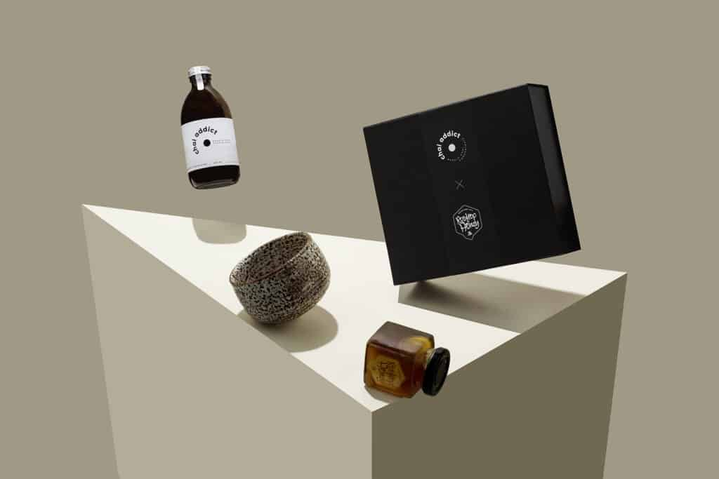 gift box, chai addict, honey, dappled cup, aritistc
